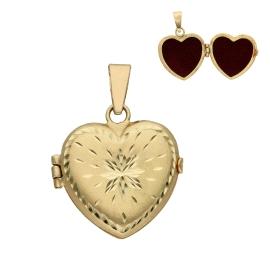Relicario con forma de corazón fabricado en oro de 18 kilates