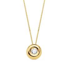 Colgante con diamante Talla brillante 0.050 kilates, largo 44 cm Este producto se entrega estuchado y envuelto para regalo