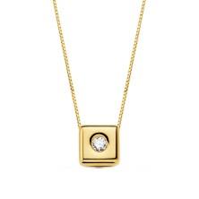 Collar con diamante Talla brillante 0.050 kilates, largo 44 cm Este producto se entrega estuchado y envuelto para regalo